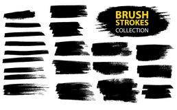 Vector large set different grunge brush strokes. Large set different grunge brush strokes. Dirty artistic design elements isolated on white background. Black Stock Image