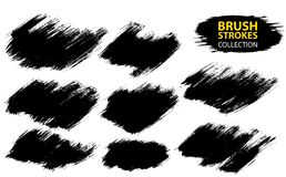 Vector large set different grunge brush strokes. Dirty artistic design elements isolated on white background. Black ink vector brush strokes Royalty Free Stock Photography