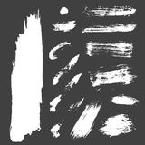 Different grunge brush strokes ink art texture dirty creative grungy element paintbrush vector illustration. Vector large set of different grunge brush strokes Royalty Free Stock Photo