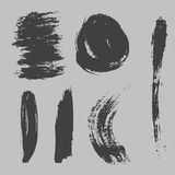 Different grunge brush strokes ink art texture dirty creative grungy element paintbrush vector illustration. Royalty Free Stock Photography