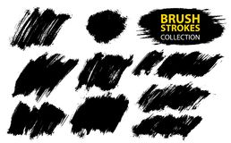 Vector large set different grunge brush strokes. Large set different grunge brush strokes. Dirty artistic design elements isolated on white background. Black Stock Photos