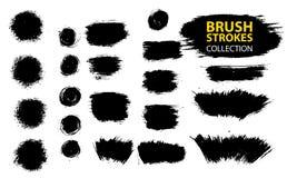 Vector large set different grunge brush strokes. Large set different grunge brush strokes. Dirty artistic design elements isolated on white background. Black Stock Photography