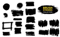 Vector large set different grunge brush strokes. Large set different grunge brush strokes. Dirty artistic design elements isolated on white background. Black Royalty Free Stock Photography