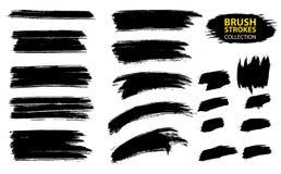 Vector large set different grunge brush strokes. Large set different grunge brush strokes. Dirty artistic design elements isolated on white background. Black Royalty Free Stock Image