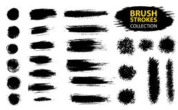 Vector large set different grunge brush strokes. Dirty artistic design elements isolated on white background. Black ink vector brush strokes Royalty Free Stock Photos