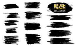 Vector large set different grunge brush strokes. Dirty artistic design elements isolated on white background. Black ink vector brush strokes Royalty Free Stock Photo