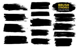 Vector large set different grunge brush strokes. Dirty artistic design elements isolated on white background. Black ink vector brush strokes Royalty Free Stock Image