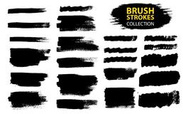 Vector large set different grunge brush strokes. Dirty artistic design elements isolated on white background. Black ink vector brush strokes Stock Images
