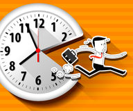 Vector of large wall clock and running businessman Stock Photos