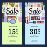 Vector las banderas de la venta para la tienda de belleza con maquillaje y skincare ilustración del vector