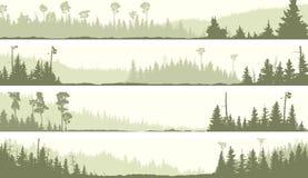 Vector las banderas del bosque conífero brumoso con los claros stock de ilustración