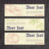 Vector las banderas del fest de la cerveza con los cangrejos dibujados mano Imagen de archivo