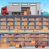 Vector las banderas planas horisontal del concepto con el interior y el exterior del almacén con los trabajadores, camiones y enc libre illustration