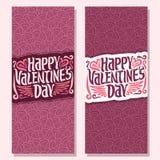 Vector las banderas verticales para el día feliz del ` s de la tarjeta del día de San Valentín ilustración del vector