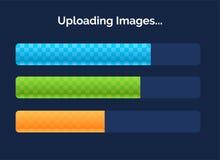 Vector las barras de cargamento del progreso con la iluminación aisladas en fondo oscuro Concepto del interfaz Fotografía de archivo