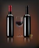 Vector las botellas de vino rojo, el corcho del vino y el vidrio realistas con la reflexión de espejo libre illustration
