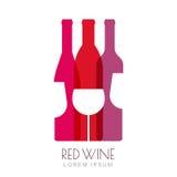 Vector las botellas de vino y el vidrio, diseño negativo del logotipo del espacio Imagen de archivo libre de regalías