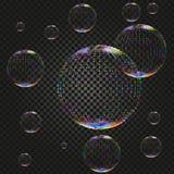 Vector las burbujas en el contexto oscuro, elementos realistas transparentes del agua del jabón del diseño en fondo a cuadros libre illustration