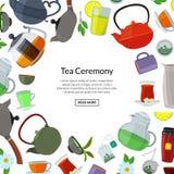 Vector las calderas de té de la historieta y ahueca el fondo con el lugar para el ejemplo del texto libre illustration