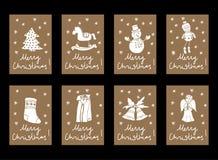 Vector las etiquetas de la etiqueta de la cartulina de la Navidad del vintage y del Año Nuevo stock de ilustración
