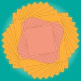 Vector las etiquetas engomadas cuadradas rosa y naranja del ejemplo con un contorno que miente encima de uno a y torcido en un es Fotos de archivo libres de regalías