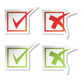 Vector las etiquetas engomadas de la marca de verificación stock de ilustración