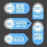 Vector las etiquetas engomadas promocionales del copo de nieve de la venta y del descuento del invierno Imagen de archivo libre de regalías