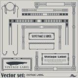 Vector las etiquetas y las etiquetas del estilo del vintage en diversas versiones Fotos de archivo