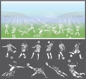 Vector las figuras de los futbolistas con el estadio en fondo Fotos de archivo