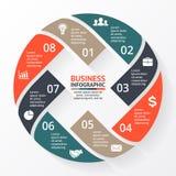 Vector las flechas del círculo X infographic, diagrama, gráfico, presentación, carta Concepto del ciclo de negocio con 8 opciones libre illustration