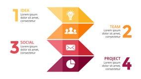 Vector las flechas infographic, carta del diagrama, presentación del gráfico de la cronología Concepto del negocio con 4 opciones libre illustration