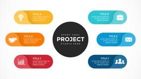 Vector las flechas infographic, diagrama del ciclo, etiquetas gráfico, carta del círculo de la presentación de las etiquetas engo Fotografía de archivo libre de regalías