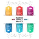 Vector las flechas infographic, diagrama, gráfico, presentación, carta Concepto de la puesta en marcha del negocio con 6 opciones Imagenes de archivo