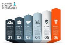 Vector las flechas infographic, diagrama, gráfico, presentación, carta Concepto del negocio con 6 opciones, piezas, pasos, proces libre illustration