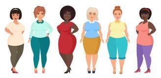 Vector a las hembras felices y sonrientes de la historieta del tamaño extra grande de la mujer Muchacha Curvy, gorda en ropa de l stock de ilustración