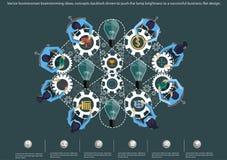 Vector las ideas de la reunión de reflexión del hombre de negocios, contragolpe de los conceptos conducido para empujar el brillo stock de ilustración