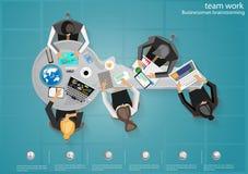 Vector las ideas de la reunión de reflexión del hombre de negocios, contragolpe de los conceptos conducido para empujar el brillo libre illustration