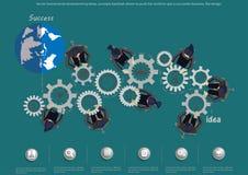 Vector las ideas de la reunión de reflexión del hombre de negocios, contragolpe de los conceptos conducido para empujar el mundo  stock de ilustración
