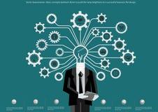 Vector las ideas del hombre de negocios, contragolpe de los conceptos conducido para empujar el brillo de la lámpara a un negocio ilustración del vector
