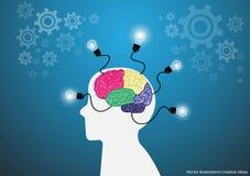 Vector las ideas del intercambio de ideas con diseño plano del cerebro del diente creativo del bulbo Foto de archivo