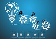 Vector las ideas del negocio de la reunión de reflexión, el concepto consiste en una bombilla y adapta diseño plano de los iconos Foto de archivo