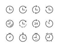 Vector las líneas iconos tiempo y el gris determinado del reloj en el fondo blanco stock de ilustración