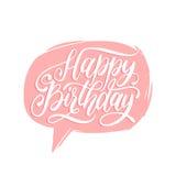 Vector las letras de la mano del feliz cumpleaños en burbuja del discurso Saludo del día de fiesta, tarjeta de la invitación, car stock de ilustración