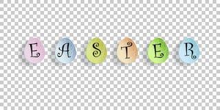 Vector las letras de Pascua en los huevos de Pascua coloreados en fondo transparente Elemento de la postal del saludo ilustración del vector