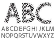 Vector las letras del alfabeto hechas de pistas del neumático de la motocicleta Imagenes de archivo