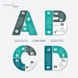 Vector las letras infographic A, B, C, D Sistema de la plantilla para la fuente Foto de archivo