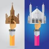 Vector las manos y el cr de rogación del rezo del brazo de la iglesia determinada cristiana del edificio Fotografía de archivo libre de regalías