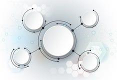 Vector las moléculas abstractas del ejemplo y la medios tecnología de comunicación social global Foto de archivo libre de regalías