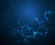 Vector las moléculas y la malla abstractas 3D con los círculos, líneas, formas del polígono Fotografía de archivo libre de regalías