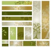 Vector las muestras de Web-diseñan (las banderas) con el árbol. Imagenes de archivo